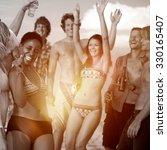 people celebration beach party... | Shutterstock . vector #330165407