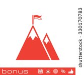 mountain peak with flag icon | Shutterstock .eps vector #330170783