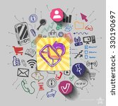 envelope and collage with web... | Shutterstock .eps vector #330190697