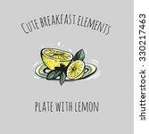 cute breakfast elements  plate... | Shutterstock .eps vector #330217463