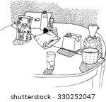 hand drawn vector still life... | Shutterstock .eps vector #330252047