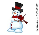 Snowman With Hat And Bow Ties...