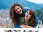 two women friends laughing and... | Shutterstock . vector #330300263