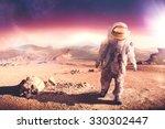 astronaut walking on an... | Shutterstock . vector #330302447