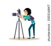 cool vector female photographer ... | Shutterstock .eps vector #330316847