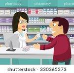 pharmacist chemist woman in... | Shutterstock .eps vector #330365273