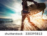 lady with surfboard running... | Shutterstock . vector #330395813