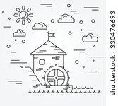 water mill. vector. | Shutterstock .eps vector #330476693