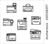 isolated vector printer icons... | Shutterstock .eps vector #330538397