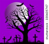halloween trees with bats and... | Shutterstock .eps vector #330605747