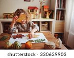 cute child girl making... | Shutterstock . vector #330629903