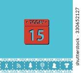 calendar. red flat symbol with...