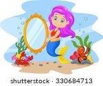 cartoon funny mermaid swimming... | Shutterstock .eps vector #330684713