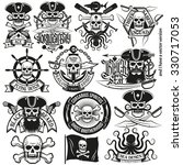 a set of pirate logo  tattoos... | Shutterstock . vector #330717053