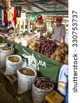 Small photo of Sao Paulo, Brazil, October 22, 2015. Farmers market in I National Fair of Agrarian Reform, promoted by INCRA and the MST (Landless Workers Movement), in the Agua Branca Park, Sao Paulo, SP.