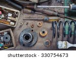 wreck hand tools and car parts | Shutterstock . vector #330754673