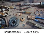 wreck hand tools and car parts | Shutterstock . vector #330755543