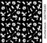 black   white halloween pattern ... | Shutterstock .eps vector #330758183