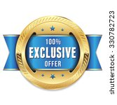 gold exclusive offer badge with ... | Shutterstock .eps vector #330782723
