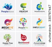 Постер, плакат: Logo collection People Logo brain logo creative