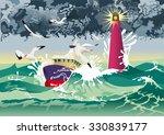 boat in hurricane | Shutterstock .eps vector #330839177