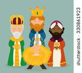 christmas season cartoon... | Shutterstock .eps vector #330861923