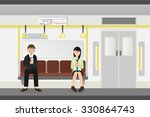 people inside a metro subway... | Shutterstock .eps vector #330864743
