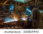 worker with protective mask... | Shutterstock . vector #330869993