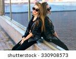 pretty stylish blonde woman... | Shutterstock . vector #330908573