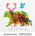 color animals  bear  deer  wolf ... | Shutterstock .eps vector #330924503
