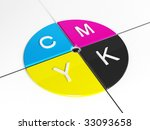 Polygraph target - CMYK 3d rendering - stock photo
