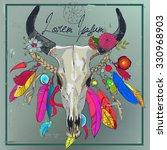 bull skull with colorful...   Shutterstock .eps vector #330968903
