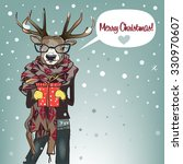 cartoon deer with scarf and... | Shutterstock .eps vector #330970607