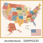 vintage color political map of... | Shutterstock .eps vector #330993233