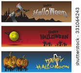 set of three halloween banners | Shutterstock .eps vector #331064243