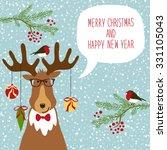 cute hand drawn reindeer  with... | Shutterstock . vector #331105043