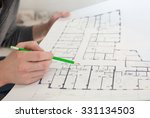 a construction worker on a... | Shutterstock . vector #331134503