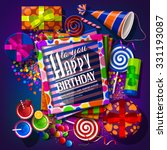 birthday card with gift boxes ... | Shutterstock .eps vector #331193087
