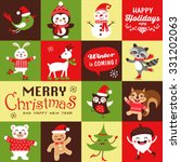 vector set of funny cartoon... | Shutterstock .eps vector #331202063