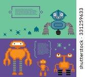 robots banner set. pixel art.... | Shutterstock .eps vector #331259633
