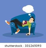 man sleep on sofa. vector flat... | Shutterstock .eps vector #331265093