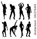 silhouettes of fitness women in ... | Shutterstock .eps vector #331276343