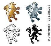 four heraldic lions  black ... | Shutterstock .eps vector #331286213