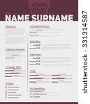 minimalist cv  resume template... | Shutterstock .eps vector #331314587