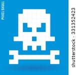 pixel art skull and bone... | Shutterstock .eps vector #331352423