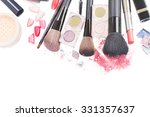 set of  brushes  lipsticks and  ... | Shutterstock . vector #331357637