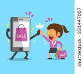 cartoon a woman go shopping... | Shutterstock .eps vector #331447007