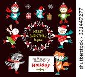 set of cute cartoon christmas... | Shutterstock .eps vector #331447277