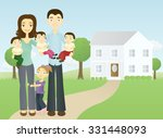 happy family with triplets | Shutterstock .eps vector #331448093