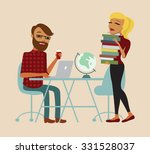 students sitting at a table... | Shutterstock .eps vector #331528037